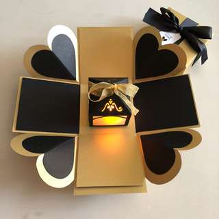 Diy explosion box with lighthouse in black & gold