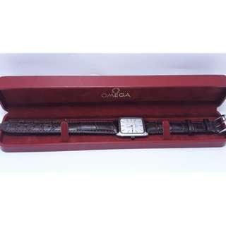 【Jessica潔西卡小舖】OMEGA方形手動上鍊機械錶女錶,寶石龍頭,原裝錶盒
