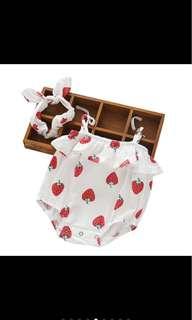Baby girl newborn romper headband set fruits summer infant toddler