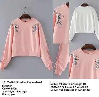 Pink shoulder embroidered