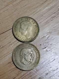兩隻西班牙幣 1966年 1975年