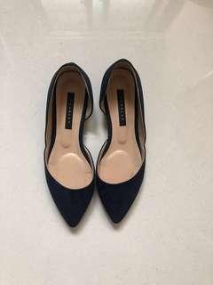 🚚 二手韓國製低跟麂皮絨尖頭皮鞋