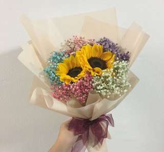 2 sunflowers with rainbow baby breath for graduation bouquet / birthday bouquet