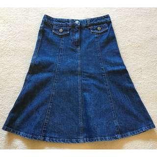 Chloe Long Dark Blue Denim Skirt Pockets Sz 8-10