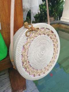 Bali Rattan Bag ( big round size)