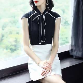 Black colour white trim ribbon tie office lady blouse business TOP
