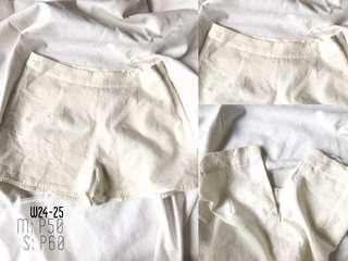 White satin cloth shorts