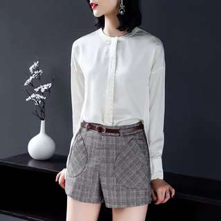 Silk blended Long sleeve white pearl button office lady blouse business shirt top