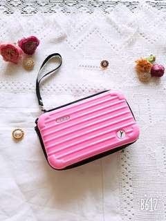 Pink carrier shape makeup/travel pouch