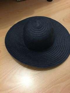 Target navy straw hat (wide brim)