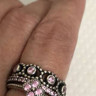 Authentic Pandora Set of 3 pink rings