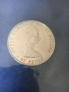 25 Pence Elizabeth II Queen Mother. Country	 Saint Helena (Ascension and Tristan da Cunha) Type	 Non circulating coin Year	 1980 Value	25 Pence 0.25 SHP = 0.46 SGD Metal	Copper-nickel Weight	28.74 g Diameter 	38.61 mm Shape 	Round