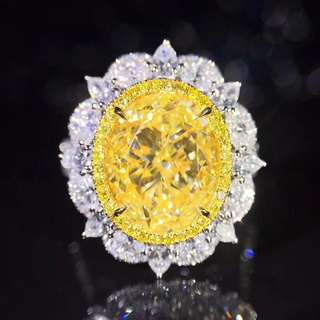 18K白金 GIA黃鑽鑽石戒指