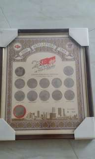 1984 Singapore 25 years of nation building commemorative medal coins wall plaque