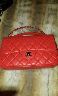 Original tangerine red lamb skin Chanel Bag