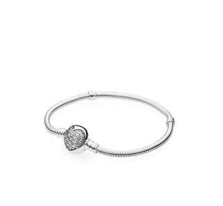 MOMENTS Silver Bracelet with Sparkling Heart Clasp