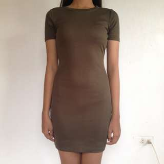 SALE! Forever21 army green ribbed bodycon