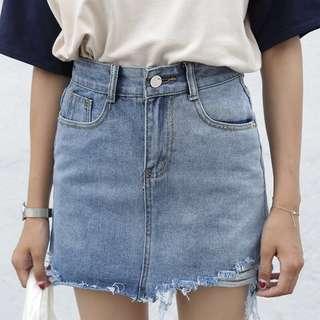 [PO] High-Waist Denim Skirt