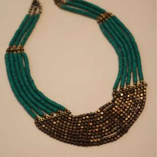 Teal and Bronze beaded necklace