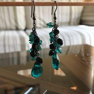 Ocean Blue Dangling Stone Earrings