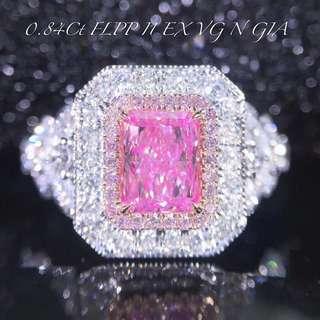 18K白金 GIA粉鑽鑽石戒指