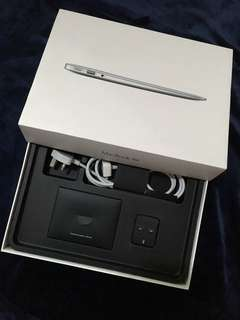 """Macbook Air 13"""" Box and Start Guide with Power Adapter Extension Cable Free Black Silicon Keyboard Protector"""