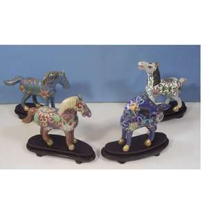 Vintage cloisonne horses on display wood stands set of 4 circa 1950s retired
