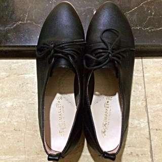 🚚 文青風黑低跟綁帶鞋