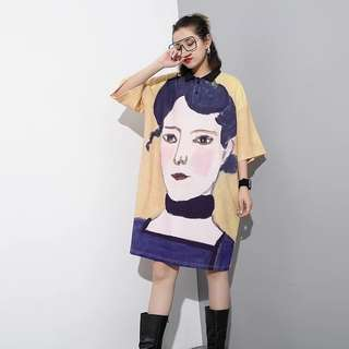 NEW Painting Portrait Print Collared Dress