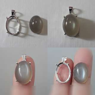 Very nice and rare, Grey Moonstone cabochon/pendant, with ready casing 925 silver plated white gold.