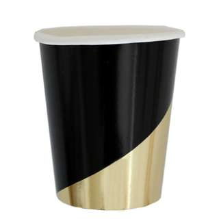 Black With Gold Stripe Cups (Set of 8)