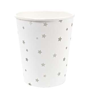 Silver Foil Stars Cups (Set of 8)