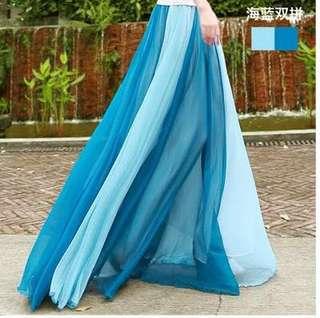 藍色雪紡裙