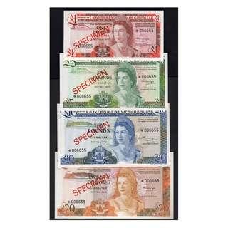 1975年英屬直布羅陀政府(British Gibraltar)英女皇伊莉莎伯二世像1-20英鎊(Pounds)樣鈔(共四枚)