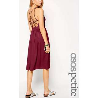 Asos Petite Exclusive Midi Dress with Strappy Backless Detail in Wine