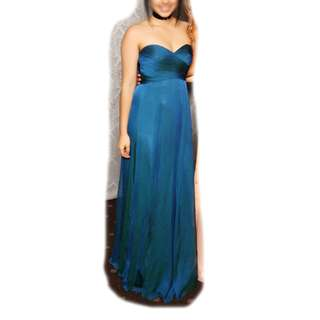 Long Strapless Chiffon Ball Dress with Turquoise Sheen - Size 6-8 - WORN ONCE