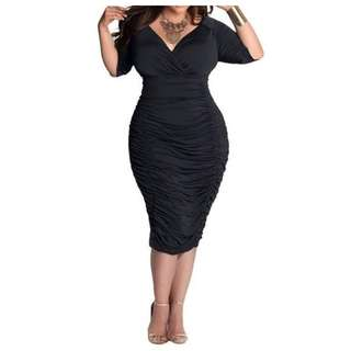 Plus size Ruffle Pencil  Dress