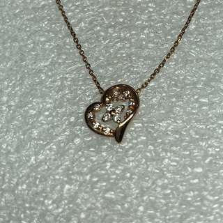 4°C 10kt diamond rose gold necklace