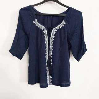 BN Blue Embroidery Top