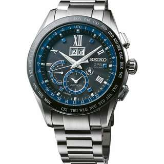 Seiko Astron SSE145J1 GPS Solar Big-Date Chrono Men Blue Titanium LIMITED EDITION SSE145