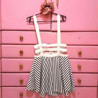Black and White Stripes Skater Skirt Jumper with Garterized Straps
