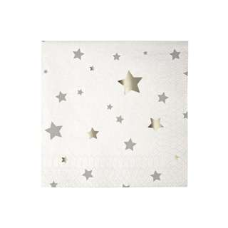 Shiny Silver Stars Napkins (Set of 20)