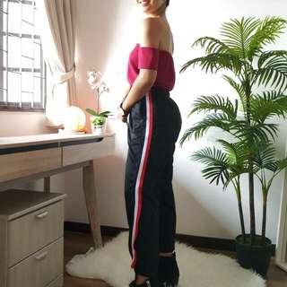 Red Stripe Track Pants