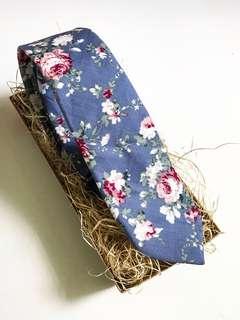 INSTOCK! Blue Floral Slim Tie - Wedding Floral Tie - Blue Neck Tie