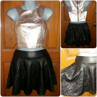 Faux Leather Garterized Skater Skirt