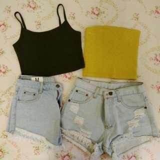 Crop top singlet & High waist denim shorts