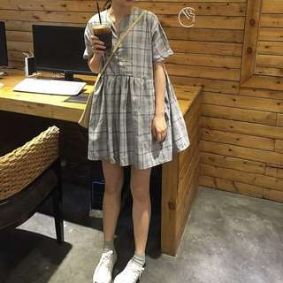 Grey Coloured Checkered Plaid Korean Style Babydoll Dress