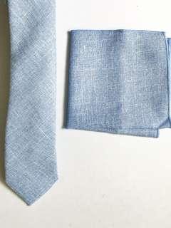 Combo Set! Pastel Blue Slim Tie + Pastel Blue Pocket Square