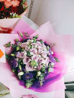 Lilac purple roses bouquet / flower bouquet / Delivery Suprise / For her