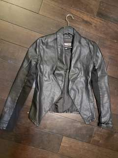 Black Faux Leather fitted Jacket